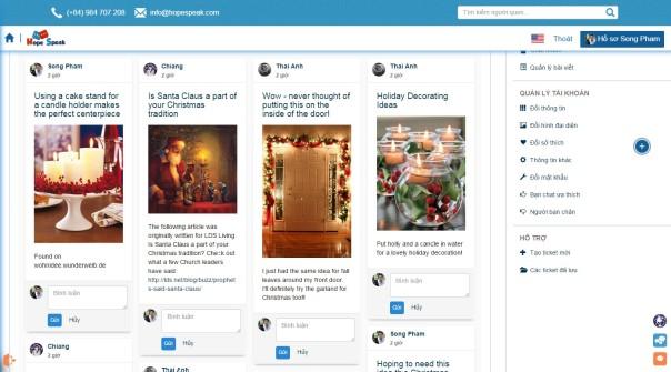Hope Speak account page